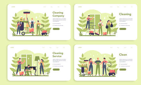 Cleaning service or company web banner or landing page set.