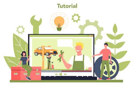 Car service online service or platform. Online video tutorial.