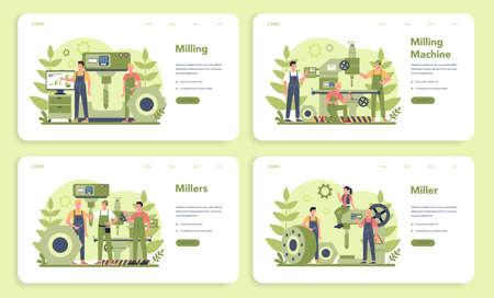 Miller and milling web banner or landing page set. Engineer drilling