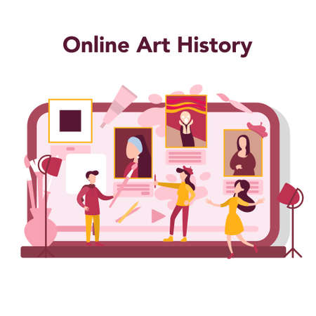 Art online education concept. Male and female artist standing in front of big easel or screen, holding a brush and paints. Artist painting. Art history. Isolated flat vector illustration Ilustração