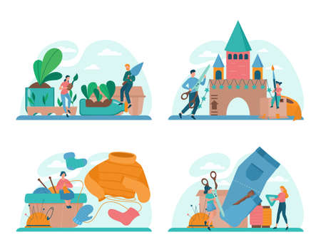 Upcycling concept set. Eco tips for reducing waste. Reuse and utilizing trash. Second life for old stuff. Isolated vector illustration