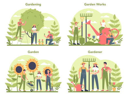 Gardening concept set. Idea of horticultural designer business. Character planting trees and bush. Special tool for work, shovel and flowerpot, hose. Isolated flat illustration