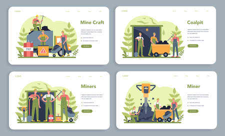 Coal or minerals mining web banner or landing page