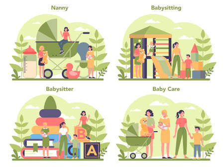 Babysitter service or nanny agency concept set. In-home babysitter. Woman taking care of baby, playing with child. Isolated vector illustration Ilustración de vector