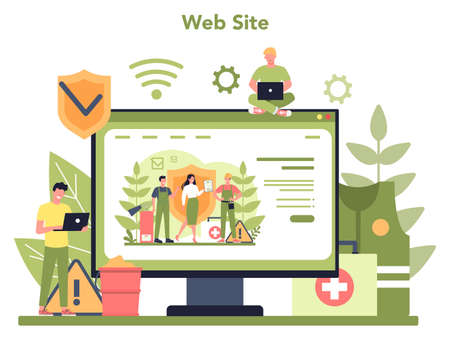 OSHA online service or platform. Occupational safety and health administration Website. Government public service protecting worker. Isolated flat vector illustration