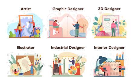Designer concept set. Graphic, 3d, interior, industrial designer, Ilustração