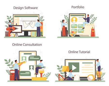 Industrial designer online service or platform set. Artist creating Vecteurs