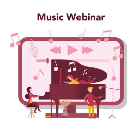 Online music learning. Young performer playing music with professional equipment. Talented musician playing musical instrumentss. Webinar. Vector illustration.