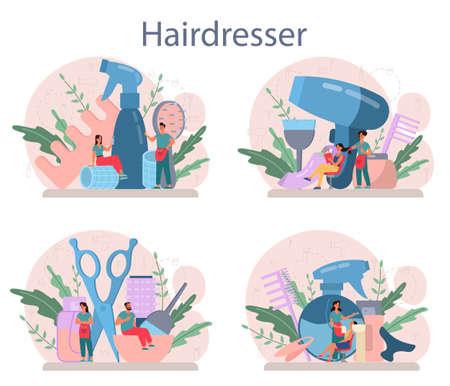 Hairdresser concept set. Idea of hair care in salon. Scissors and brush