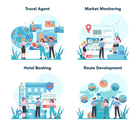 Travel agent concept set. Office worker selling tour, cruise, airway