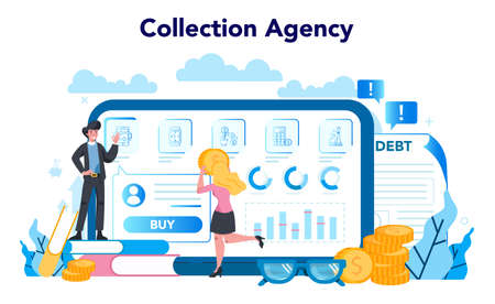 Debt collector online service or platform. Pursuing payment of debt