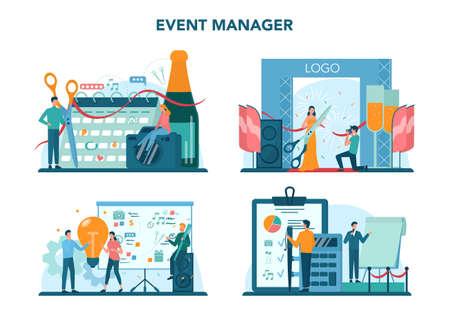 Event manager or service concept set. Celebration or meeting Ilustrace