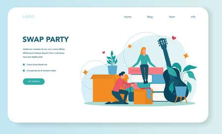 Swap party or flea market web banner or landing page. Clothes