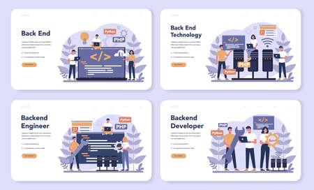 Back end development web banner or landing page set. Software Ilustrace