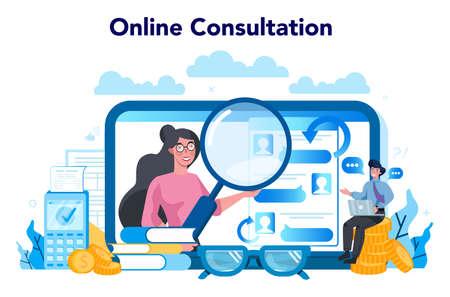 Tax inspector online service or platform. Financial bill, financial