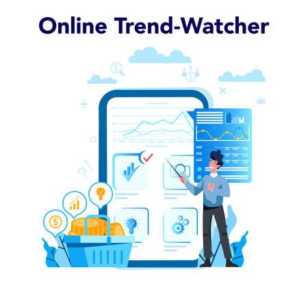 Trendwatcher online service or platform. Webinar, consultation  イラスト・ベクター素材