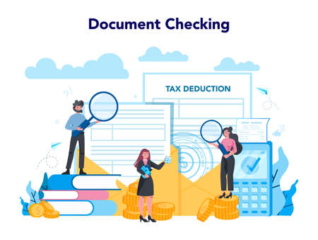 Tax inspector concept. Idea of accounting and payment. Financial bill Ilustracje wektorowe