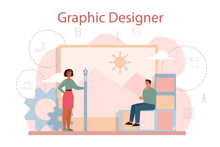 Graphic designer or digital illustrator concept. Picture on the device