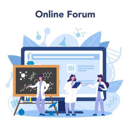 Scientist online service or platform. Idea of education