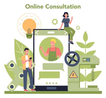 Turner or lathe online service or platform concept. Online consultation. Ilustração