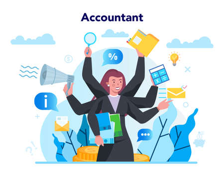 Accountant office manager. Professional bookkeeper. Concept of Illustration