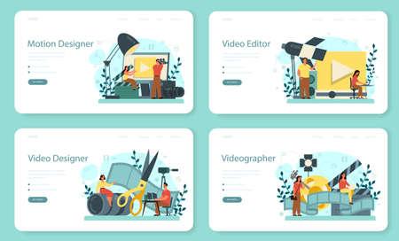 Motion or video designer web banner or landing page set. Artist Illustration