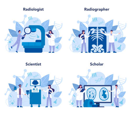 Radiologist concept set. Doctor examing X-ray image of human body