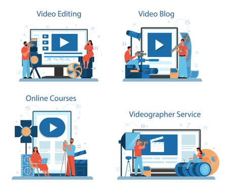 Video production or videographer online service or platform set.