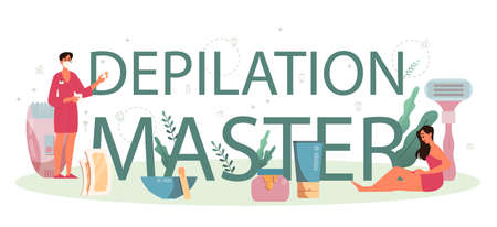 Depilation and epilation typographic header concept. Hair removal