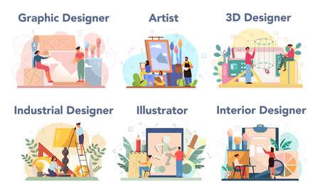 Designer concept set. Graphic, 3d, interior, industrial designer, 向量圖像
