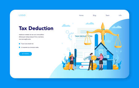 Tax deduction web banner or landing page. Income subsidies.