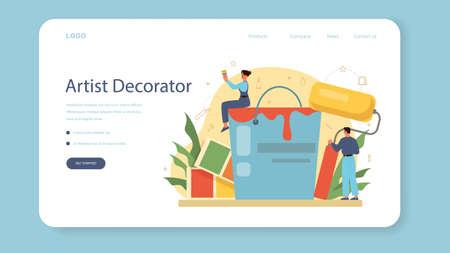 Professional decorator web banner or landing page. Designer