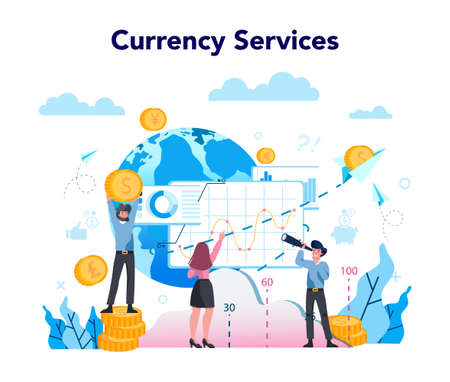 Currency exchange service concept. World currency exchanging services. Forex trading indicators for buying and selling currency. Isolated flat vector illustration