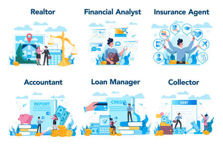 Manager or business profession set. Business character making financial operation. Realtor, financial analyst, insurance agent, accountant, loan manager, collector. Vector illustration