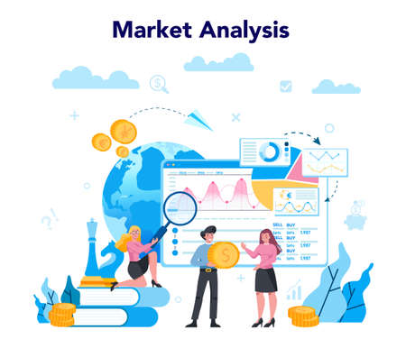 Trader, financial investment concept. Market analysis. Buy, sell or loss profits, trader strategy. Idea of money increase and finance growth. Vector illustration in flat style