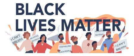 Black lives matter typographic header concept. Protester call for justice