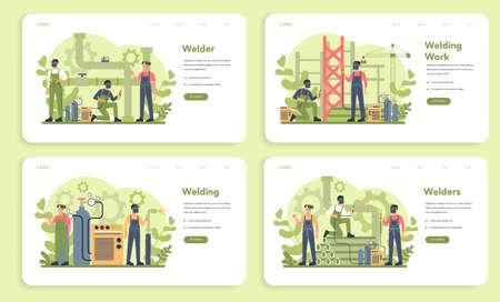 Welder and welding service concept web banner or landing page set.