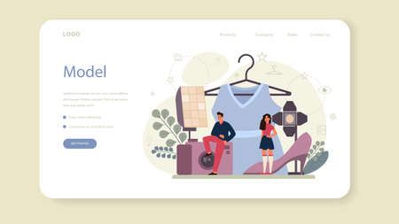 Fashion model web banner or landing page. Man and woman  イラスト・ベクター素材