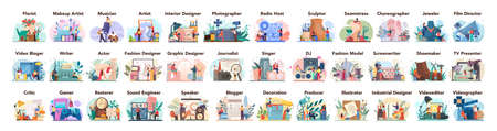 Artistic occupation set. Designer, dancer, artist, musician, florist Stock Illustratie