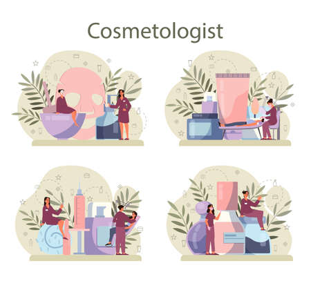 Cosmetologist concept set, skin care and treatment. Young woman Illustration