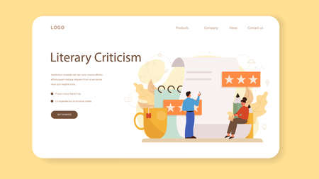 Professional critic web banner or landing page. Journalist making