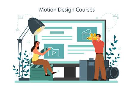 Motion or video designer online service or platform. Animation Illustration