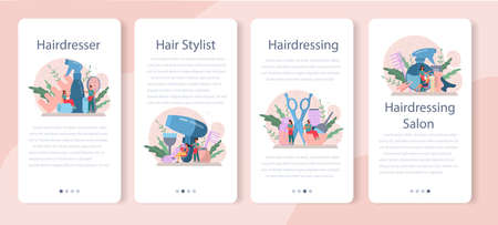 Hairdresser mobile application banner set. Idea of hair care in salon. Scissors and brush, shampoo and haircut process. Hair treatment and styling. Isolated vector illustration