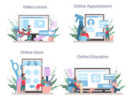 Hairdresser online service or platform set. Idea of hair care in salon. Hair treatment and styling. Online video lesson, appointment, store, education. Isolated vector illustration