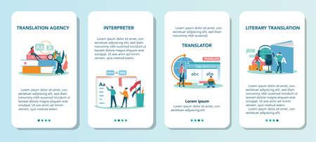 Translator and translation service mobile application banner set. Illustration