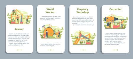 Woodworker or carpenter mobile application banner set. Builder
