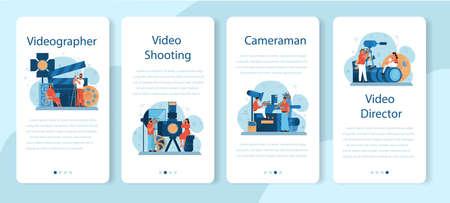 Video production or videographer mobile application banner set.