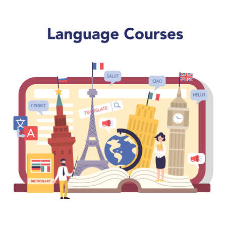 Language learning online service or platform. Study foreign Stock Illustratie