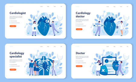 Cardiology web banner or landing page set. Doctor deal with