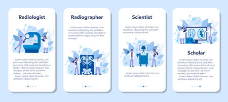 Radiologist mobile application banner set. Doctor examing X-ray